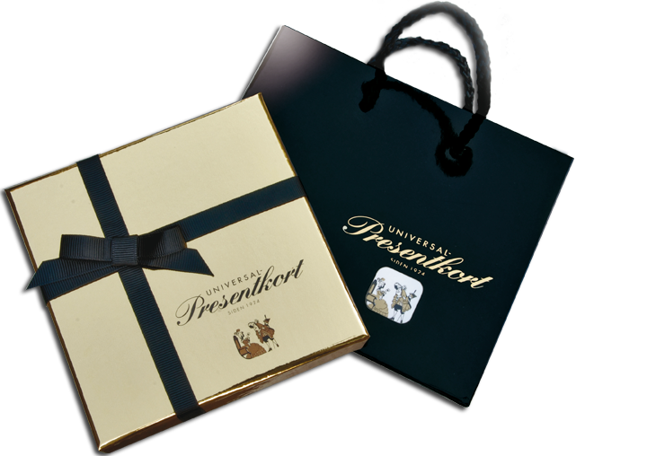 Universal Presentkort gaveboks med bag, lekkert tilbehør til gavekort.